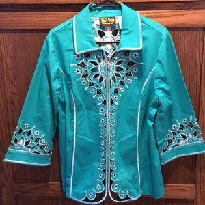 Bob Macki blazer, turquoise blazer